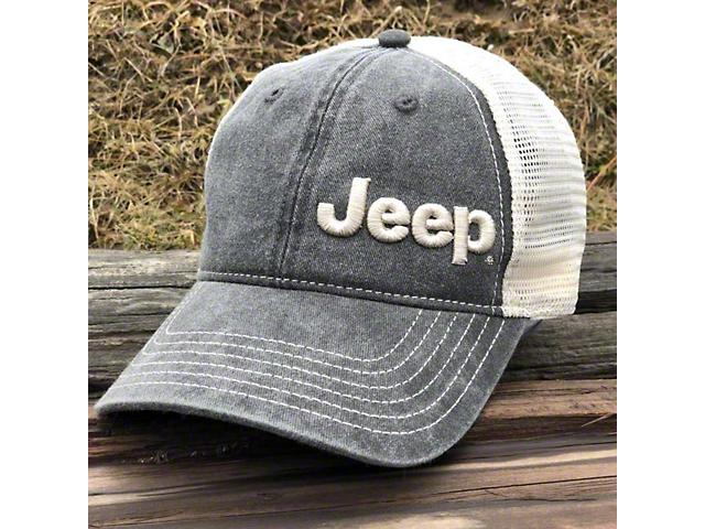 Jeep Garment Washed Trucker Hat; Black