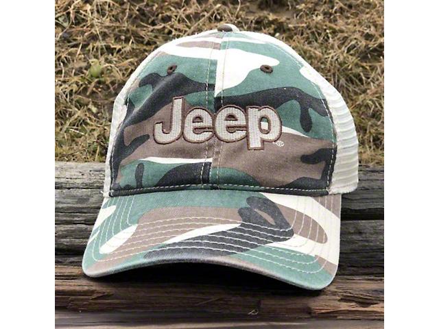 Jeep Garment Washed Trucker Hat; Camo