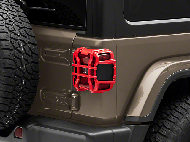 Tail Light Guards; Firecracker Red (18-21 Jeep Wrangler JL w/ Factory LED Tail Lights)