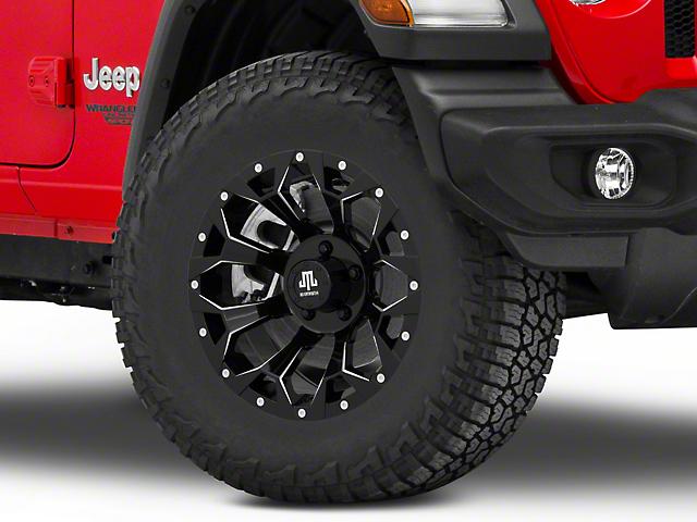 Mammoth Dark Star Satin Black Machined Wheel; 17x9 (18-21 Jeep Wrangler JL)