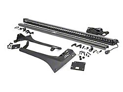Rough Country 50-Inch Black Series Single Row Straight LED Light Bar with Upper Windshield Mounting Brackets (20-22 Jeep Gladiator JT, Excluding Mojave)