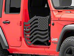 Steinjager Premium American Flag Front Trail Doors; Black (18-21 Jeep Wrangler JL)
