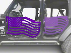 Steinjager Premium American Flag Front Trail Doors; Sinbad Purple (18-21 Jeep Wrangler JL)