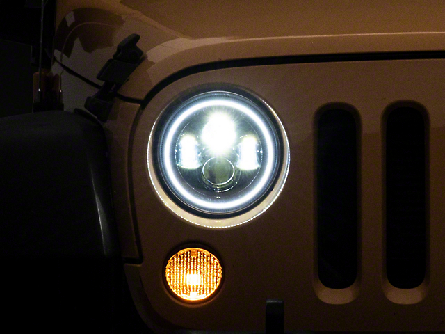 Oracle 7-Inch High Powered LED Headlights with White Halo; Black Housing; Clear Lens (97-18 Jeep Wrangler TJ & JK)