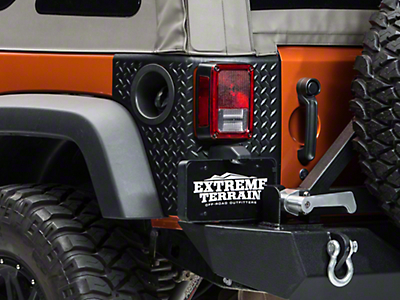 Rugged Ridge Rear Tall Corner Guards Body Armor - Black (07-18 Wrangler JK 2 Door)