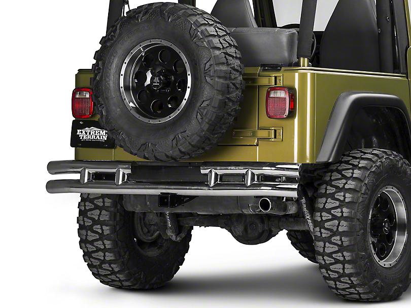 Rugged Ridge Tubular Rear Bumper w/ Hitch - Stainless Steel (87-06 Jeep Wrangler YJ & TJ)