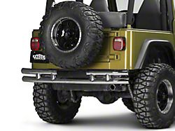 Rugged Ridge 3-Inch Double Tube Rear Bumper; Stainless Steel (87-06 Jeep Wrangler YJ & TJ)