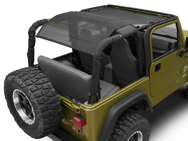 TruShield Full Width Mesh Bikini Top; Black (97-06 Jeep Wrangler TJ)