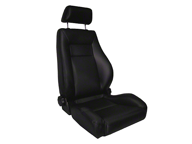 Rugged Ridge Reclining Front Super Seat w/ Headrest - Black Vinyl (87-02 Wrangler YJ & TJ)