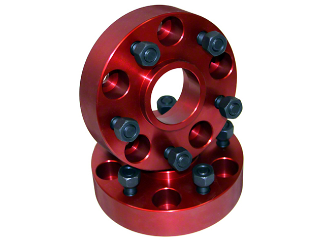 Alloy USA 1.25-Inch Red Wheel Adapters; 5x4.5 to 5x5.5 (87-06 Jeep Wrangler YJ & TJ)