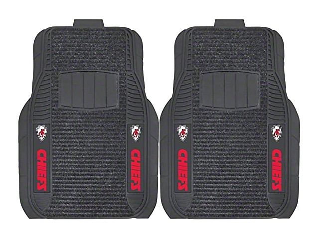 Molded Front Floor Mats with Kansas City Chiefs Logo (Universal Fitment)