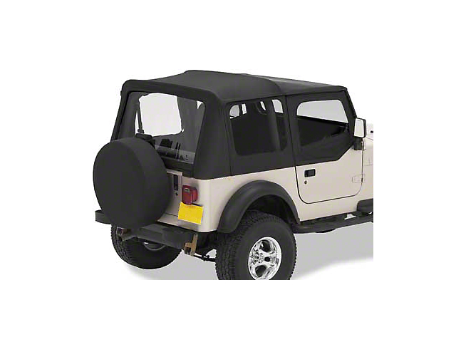 Bestop Replace-A-Top w/ Clear Windows - Black Denim (97-02 Jeep Wrangler TJ w/ Steel Half Doors)