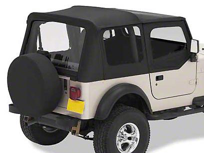 Bestop Replace-A-Top w/ Clear Windows - Black Denim (97-02 Jeep Wrangler TJ w/ Steel Half Doors)