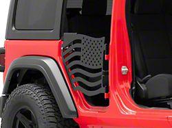 Steinjager Premium American Flag Rear Trail Doors; Black (18-21 Jeep Wrangler JL 4-Door)