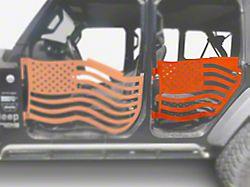Steinjager Premium American Flag Rear Trail Doors; Fluorescent Orange (18-21 Jeep Wrangler JL 4-Door)