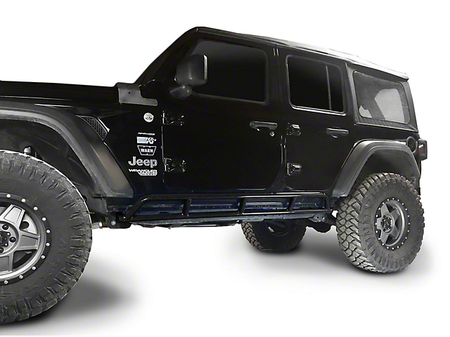 Steinjager Rock Sliders; Black (18-21 Jeep Wrangler JL 4 Door)