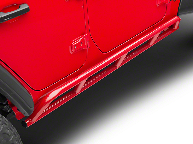 Steinjager Rock Sliders; Red Baron (18-21 Jeep Wrangler JL 4 Door)