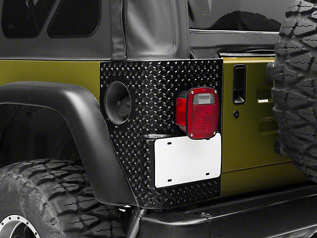 RedRock 4x4 Rear Quarter Panel Body Armor Kit; Black (97-06 Jeep Wrangler TJ, Excluding Unlimited)