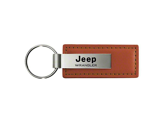 Wrangler Leather Key Fob; Brown