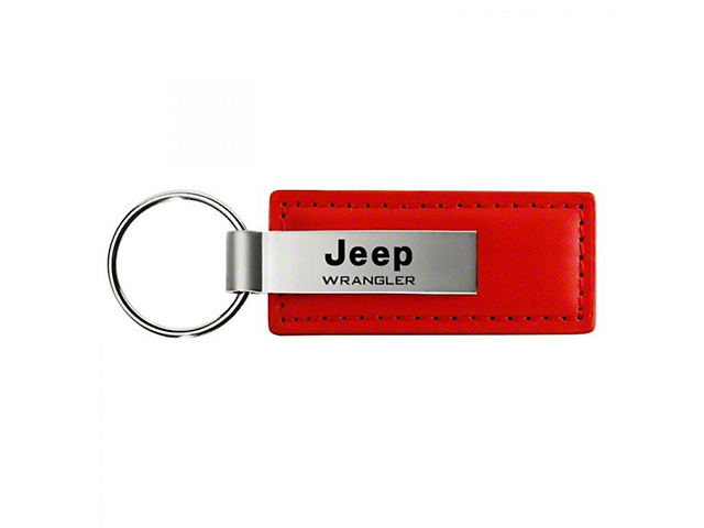 Wrangler Leather Key Fob; Red