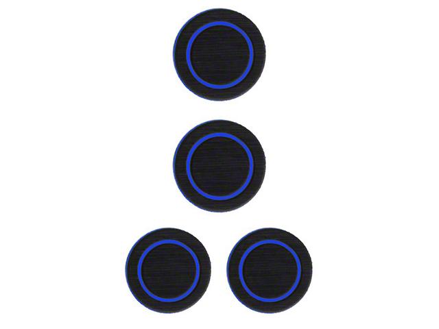 Interior Cup Holder Foam Inserts; Black/Blue (07-18 Jeep Wrangler JK)