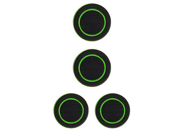 Interior Cup Holder Foam Inserts; Black/Green (07-18 Jeep Wrangler JK)