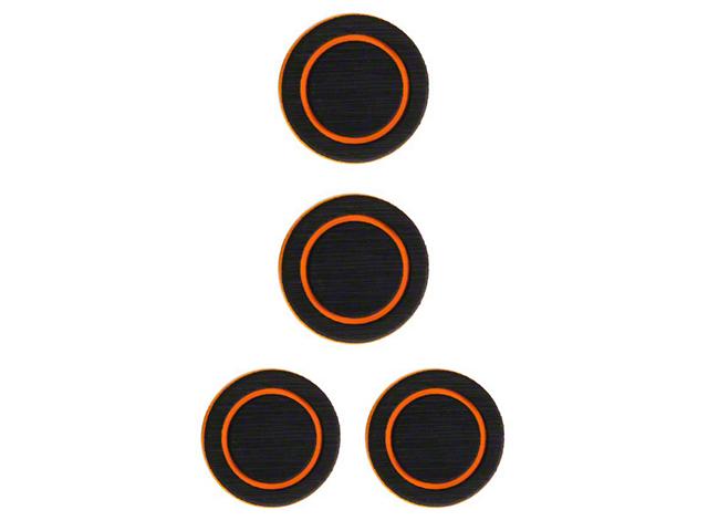 Interior Cup Holder Foam Inserts; Black/Orange (07-18 Jeep Wrangler JK)