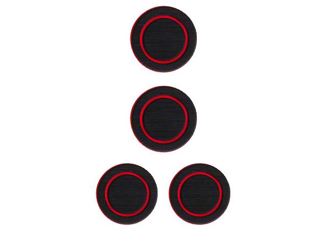 Interior Cup Holder Foam Inserts; Black/Red (07-18 Jeep Wrangler JK)