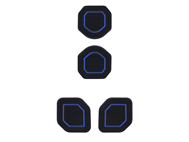 Interior Cup Holder Foam Inserts; 4-Piece Kit; Black/Blue (20-22 Jeep Gladiator JT)