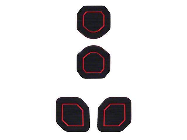 Interior Cup Holder Foam Inserts; 4-Piece Kit; Black/Red (18-21 Jeep Wrangler JL)