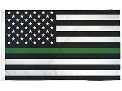 3-Foot x 5-Foot USA Flag; Green Stripe