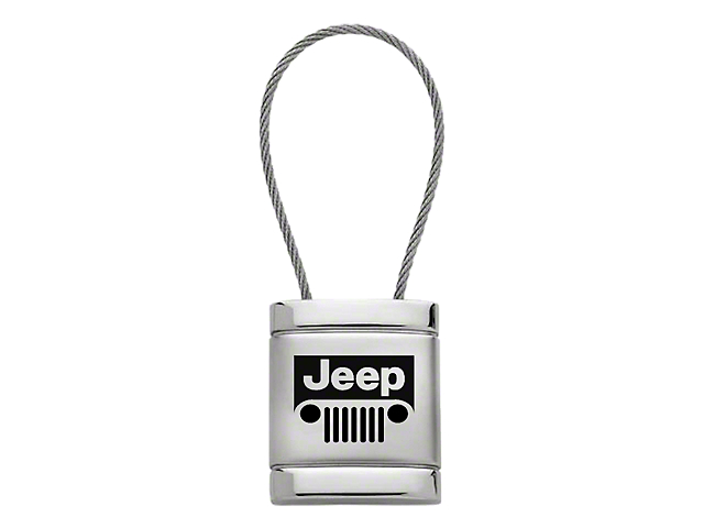 Key Chain; Jeep Grille Satin-Chrome Cable Key Fob
