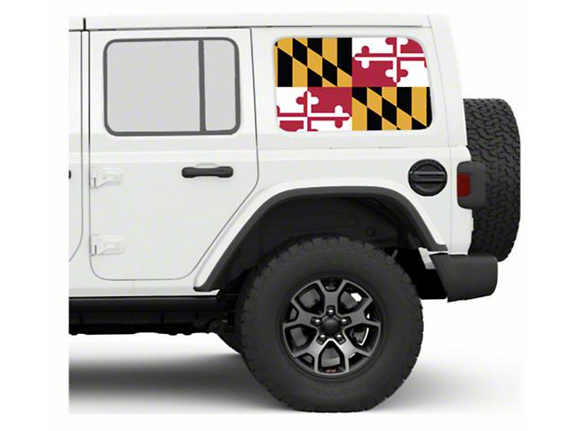 Under the Sun Hard Top Rear Side Window Decals; Maryland (07-21 Jeep Wrangler JK & JL 4 Door)