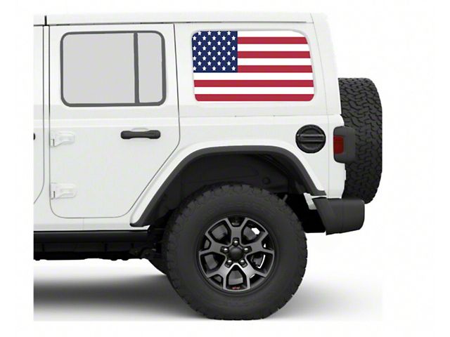 Under the Sun Hard Top Rear Side Window Decals; Old Glory (07-21 Jeep Wrangler JK & JL 4 Door)