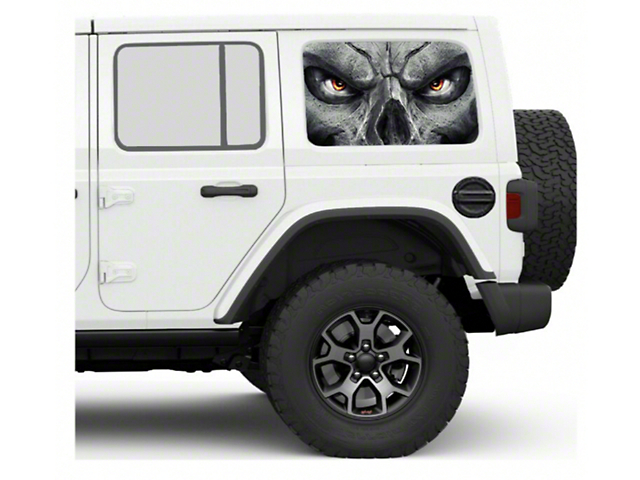 Under the Sun Hard Top Rear Side Window Decals; Skull Face (07-21 Jeep Wrangler JK & JL 4 Door)