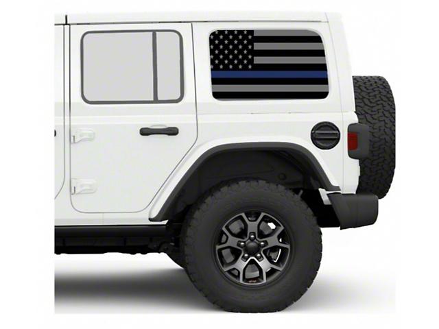 Under the Sun Hard Top Rear Side Window Decals; Thin Blue Line (07-21 Jeep Wrangler JK & JL 4 Door)