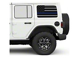 Under the Sun Hard Top Rear Side Window Decals; Thin Blue Line (07-21 Jeep Wrangler JK & JL 4-Door)