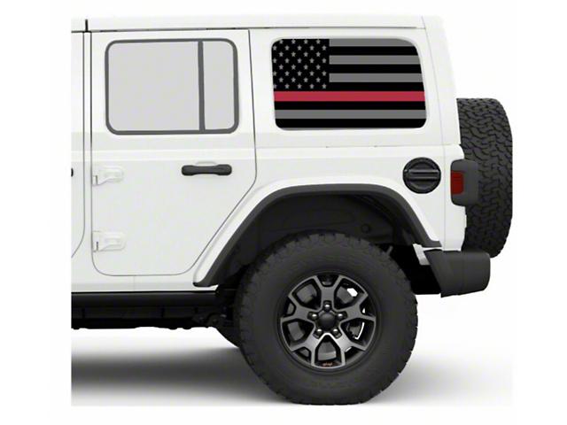 Under the Sun Hard Top Rear Side Window Decals; Thin Red Line (07-21 Jeep Wrangler JK & JL 4 Door)