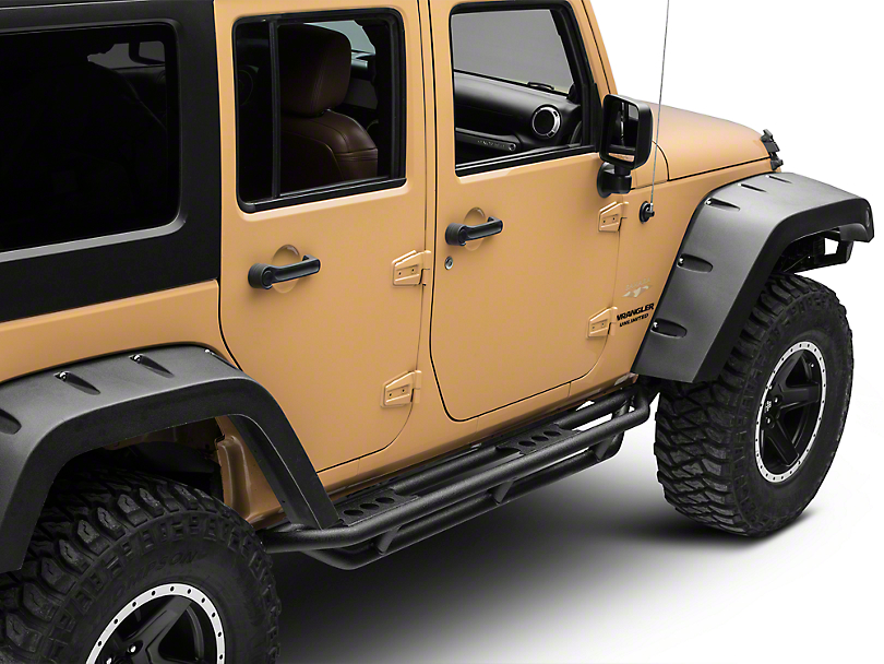 Smittybilt SRC Side Armor - Black Textured (07-18 Wrangler JK 4 Door)