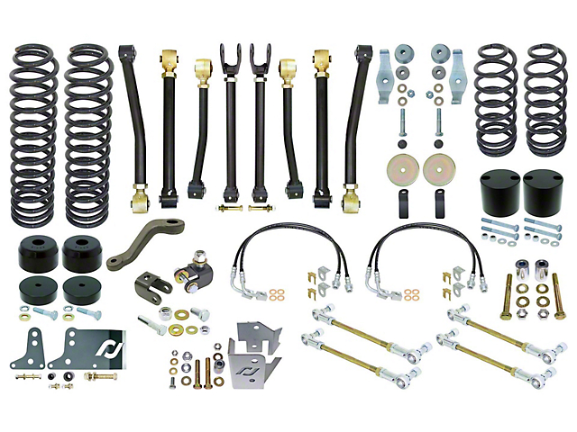 RockJock Johnny Joint 4-Inch Suspension Lift Kit with Front and Rear Sway Bar Links (07-18 Jeep Wrangler JK 2 Door)