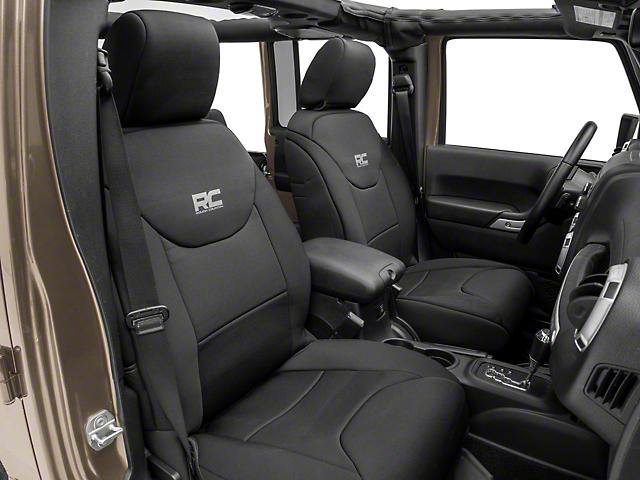 Rough Country Neoprene Front Seat Covers; Black (13-18 Jeep Wrangler JK 4-Door)