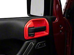 Alterum Interior Door Handle Trim Bezels; Red (07-18 Jeep Wrangler JK 2-Door)