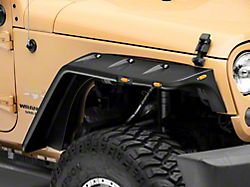 Pocket Rivet Style Fender Flares; Matte Black (07-18 Jeep Wrangler JK)