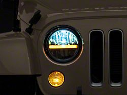 Axial 7-Inch LED Headlights with DRL and Signal Function; Black Housing; Clear Lens (97-18 Jeep Wrangler TJ & JK)