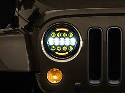 Axial 7-Inch LED Headlights with RGB Backlight; Black Housing; Clear Lens (97-18 Jeep Wrangler TJ & JK)