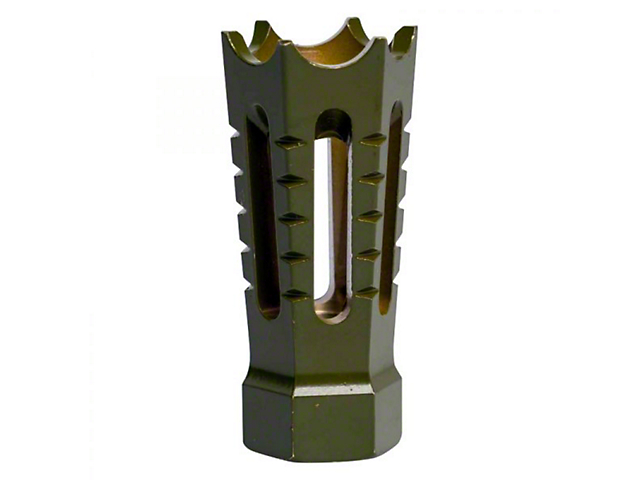 Flared/Spiked Door Breacher Design AR-15 Rifle Barrel Antenna Tip Flash Hider; Olive Drab/Army Green (Universal; Some Adaptation May Be Required)