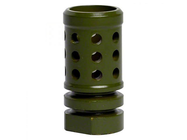 Perforated Hole Design AR-15 Rifle Barrel Antenna Tip Flash Hider; Olive Drab/Army Green (Universal; Some Adaptation May Be Required)