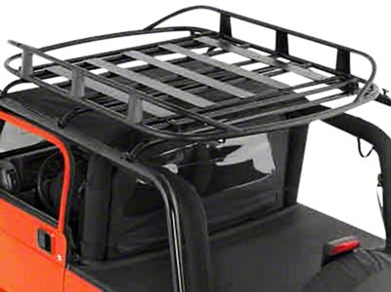 Smittybilt Jeep Wrangler Rugged Rack Roof Basket 250 Lb Rating Black 17185
