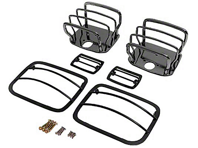 Rugged Ridge 6-Piece Stainless Steel Euro Guard Light Kit - Black Chrome (87-95 Wrangler YJ)