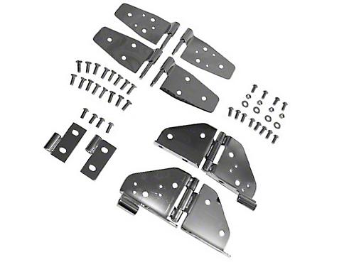 Rugged Ridge Stainless Steel Hinge Kit - Black Chrome (87-95 Wrangler YJ w/ Half Doors)